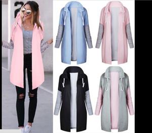 2020 Autumn And Winter Fashion Womens Long Matching Color Sweatshirt Coat Female Sweatshirts Women Warm Coat Zipper Long Coats