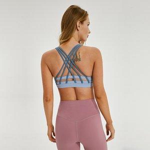 Kontrast Renk Spor Bra Salonu Giyim Kadın İç Yoga Fitness İnce Kemer Geri Darbeye Seksi Activewear lu-33 Bra Running Gathered