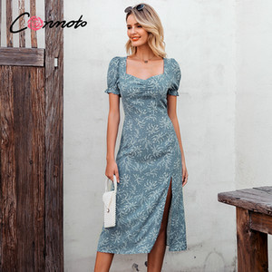 Conmoto Women Vintage Print Square Collar Long Dress Summer Casual Puff Sleeve Party Maxi Dress Ladies Elegant Slim Split Dress A1105