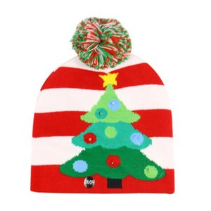 2021 11Designs LED Christmas Hat Sweater Knitted Beanie Christmas Light Up Knitted Hat For Kid Adult For Party