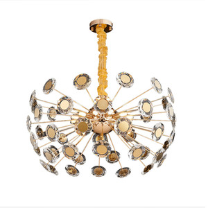 Golden Luxury Crystal Chandelier Lighting Post Modern Fashion Romantic Foyer Bedroom Restaurant Art Decorative Hanging Lamp Fixtures G9