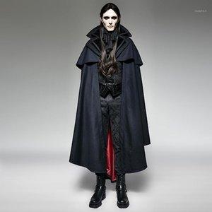 Punk Gothic Halloween Dark Vampire Graf Bat Cape Lose Sleeveless Overcoats Steampunk Blau Männer Hoodie Cape Lange Mantel Mäntel1