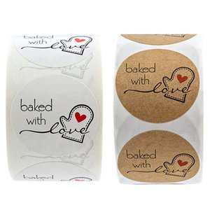 500pcs roll Kraft Paper Labels Sticker DIY Baked With Love Stickers Scrapbooking For Package Seal Cute Handmade Stationery Sticker DHL Free