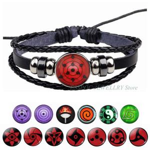 Sharingan Eye Bracelet Anime Naruto Braided Leather Bracelet Naruto Sasuke Uchiha Clan Rinnegan Taichi Kakashi Cosplay Jewelry
