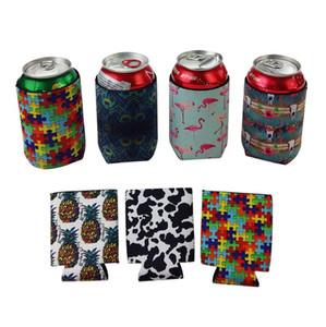 Neoprene Beverage Cooler Collapsible Slim Can Beer Insulators Premium Cola Soda Bottle Koozies Cactus Leopard Can Sleeve PPF4255