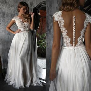 2021 Beach Wedding Dresses Lace Applique Cap Sleeves Sexy Illusion Covered Buttons Tulle Floor Length Wedding Gown Vestido de novia