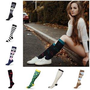 Fashion Women Compression Socks Autumn Winter Love Pattern Stripe Star Print Stockings Big Girls Running Sports High Elastic Socks Gift New