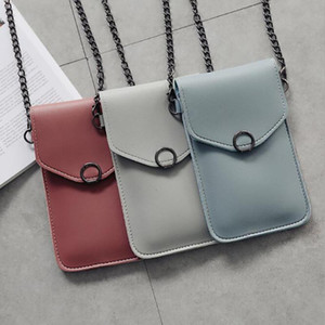 Touch Screen Mobile Phone Package For Women Ladies Transparent Shoulder Bag Simple Buckle Pouch