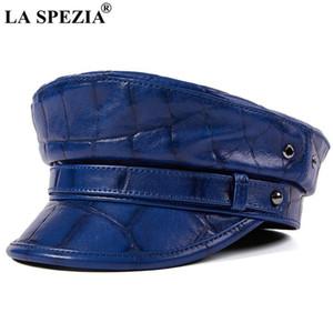 La Spezia мужчины женщины натуральная кожаная шляпа настоящая овчина королевская голубая мужчина женщина осень зима высокого качества моряка шляпа