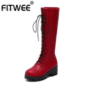 FITWEE Knee High Boots Women New Winter Casual Thick Bottom Platform Shoes Women Zipper Lace Up Warm Knight Boots Size 34-43
