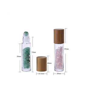10 ml Essential Oil Diffuser Clear Glass Roll on Perfume Bottles Natural Crystal Quartz Stone Grain Roller Ball Bottles T9I00167 267 G2