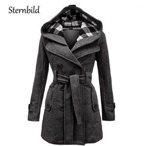 Damenjacken Wintermode Wollmantel Frauen Warme Beiläufige Kapuzenjacke für doppelbrechende Erbsen Outwear Weibliche dicke Mäntel feste S-3XL1