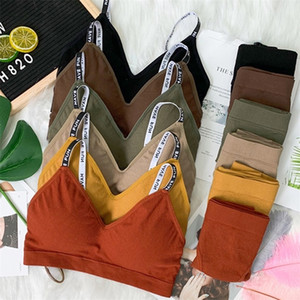 Sexy Donne Bra Panties Set Push Up Fitness Bra Set Lettera Strap Seamless Seamless Active Bralette Donne Lingerie Set Sport Top Biancheria intima LJ201212