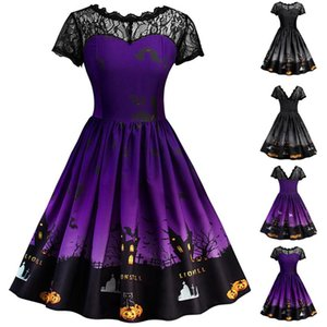 Women Dress Short Sleeve 2020 Halloween Retro Lace Vintage Dress Line Pumpkin Swing Costume Evening Party Prom Beauty