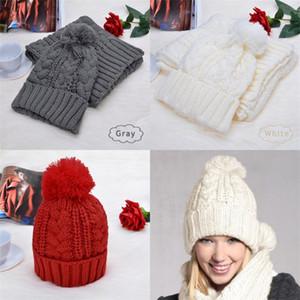 Punto de tejer bufanda de invierno peludo Mantenga cálido Patrón de torsión Patrón de cuello cómodo Set Soft Frío Proof Cap de alta calidad Venta caliente 20DR F2