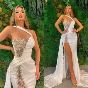 Gorgeous perles robes de bal 2021 Arabe ASO ASO EBI WHITE ONE BAISON BAISON SOULAGE Robes de soirée Formal Sexy Side Célébrité Célébrités Robe Al7471