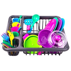28pcs / 8pcs Children Play Pretend Toys Toys Educational Kitchen Cooking Toyware PlaySet- Color casuale Y200428