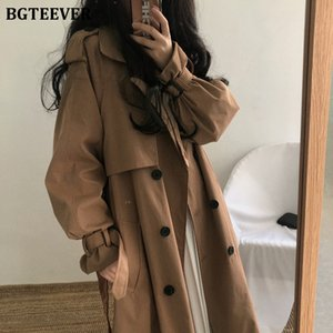 Brown Oversized BGTEEVER Vintage Mulheres Windbreaker Coats 2020 Autumn lapela Abotoamento Sashes solto Ladies Trench CoatsX1016