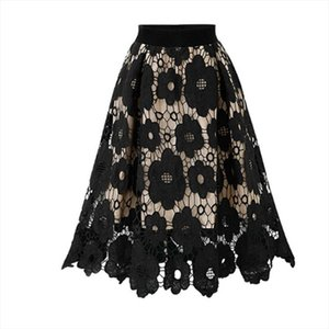 2020 New Womens Crotch Lace Knee Length Ladies Soft Stretch Flared Printed Hollow Skirtst Mini Skirts Faldas Largas Mujer A4