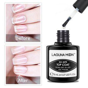 Lagunamoon Long Lasting Salon Beauty Extreme Shine No-wipe Top Coat Base Coat Kit 8ml Nail Polish Set UV LED Soak Off Varnish Lacquer