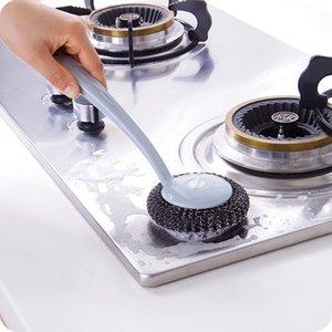 Lámpelo largo mango de acero bola lavabo pincel cocina cocina de acero inoxidable limpieza bola fregadero estufa limpieza cepillo h bbyigo
