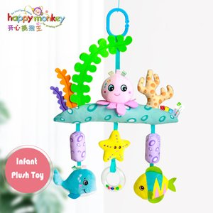 Newborn Baby Develomental Toys Stroller Crib Hanging Rattles Infant Toys Soft Cute Cartoon Animal Plush Baby Toys 0-12 months LJ201113