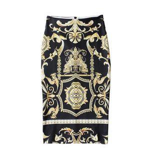 European and American style knee-length skirt print package skirt high waist split package hip skirt step pencil fz2672