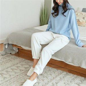 Женщины Фланелевые брюки Женские Спящие Пижама Зимний Теплый Дом Носить Повседневные Длинные Брюки Пижама Сплошные Цвета Толстые Брюки Пижамы