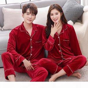 BZEL New Couple Pajama Set Velvet Pijamas Long Sleeve Sleepwear His-and-her Home Suit Pyjama For Lover Man Woman Lovers' Clothes