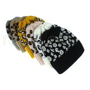 Kadınlar Leopard Örme at kuyruğu Moda Criss çapraz at kuyruğu Beanie Kış Sıcak Yün Örgü Şapka Parti Şapkası Sarf Malzemeleri 120ps RRA3650 Caps
