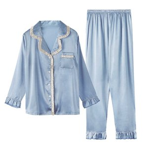 Missyou Long Sleeve Pajamas Women Lapel Autumn Sleepwear Ladies Mujer Silk Satin Tops+pants Home Wear 2pcs Pyjamas Sets