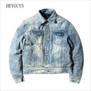 NAGRI Reversible Style Jacket Men Denim Jean Ripped Hole Two-sided Jaqueta Jeans Homem Hip Hop Thick College Jacket FS111 201026