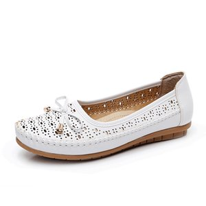 summer Women Cutouts Genuine Leather Mom Shoes Comfortable Flats Nurse Casual slip-on ballet flat loafers size 35-40 201012
