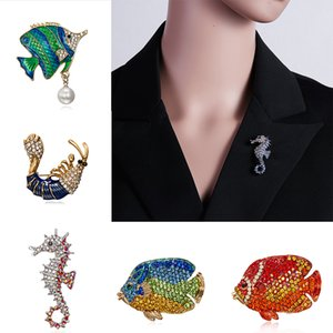 3 Colors Available Blue Enamel Hippocampus Brooches Women Fish Shrimp Pins Animal Style Brooch Fashion Coat Brooch