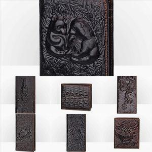 2gyq New Genuine Leather Vintage Wallet Men Coin Pocket Short RFID wallet Wallets Top Layer Cowhide Zipper Man case Card Holders