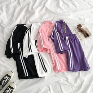 Summer Loose Tracksuit For Women Short Sleeve T Shirt Two Piece Shorts Set Female 2020 Casual Striped Sport 2 Piece Sets Ladies