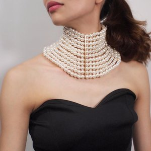Brand Multi Layered Necklace Jewelry Woman Necklace Chokers Elegant Ladies Wedding Party Wide Pearl Nekclace Femme Bijoux Colar