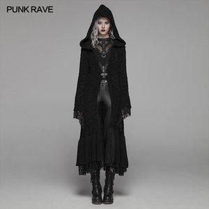 Punk Rave kadın Gotik Retro Siyah Uzun Kapüşonlu Kazak Cadılar Bayramı Kostüm Kişilik Kadın Yün Hırka Manşetleri Dikişli Dantel 201031