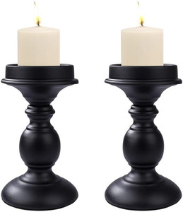 Candle Holder Pillar Candlestick Cylindrical 2PCS Retro Iron Table Ornament Decorative for Wedding,Festival,Candlelight Dinner,Light Home De