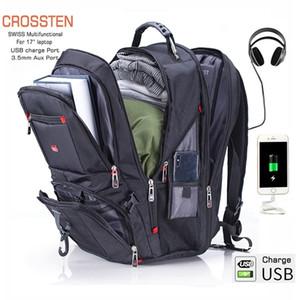 """Crossten 17"""" Рюкзак для ноутбука Водонепроницаемый USB Charge порт в швейцарском стиле Многофункциональный рюкзака Schoolbag Mochila Пешеходные дорожная сумка Q1104"""