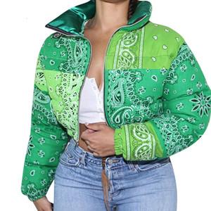 Casual Print Puffer Bandana Jacket Winter Coat Women Fashion Clothing for Streetwear Cropped Puffer Warm Bubble Coat