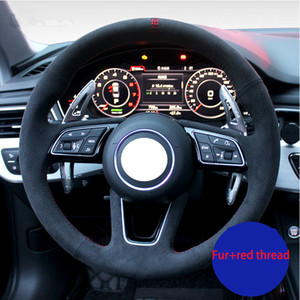 Hand-stitched Genuine Breathable Soft Turn Fur Car Steering Wheel Cover for Audi S3 A5 A7 S6 TT S5 R8 15inch 38cm Gray