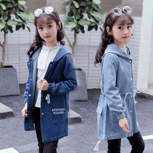 Big Size Girls Denim Jacket Autumn Jeans Jacket Coats Baby Girls Long Coats Windbreaker 4-14 Years Kid Outerwear Children Parka