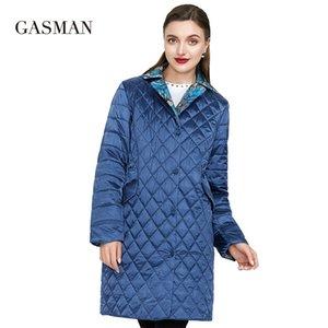 GASMAN Rüzgar Geçirmez Uzun İnce Pamuk Ceketler Kadınlar Için Bahar Sıcak Parka Düğmeler Balıkçı Yaka Aşağı Ceket Kadın Yağmurluk Sonbahar Coat 201030