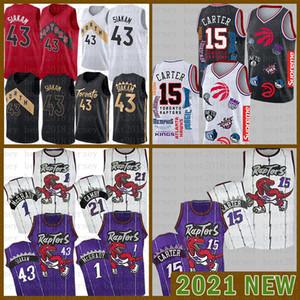 2021 Новый баскетбол Джерси ТоронтоХищникиMens Vince 15 Carter Pascal 43 Siakam Kyle 7 Lowry Tracy 1 McGrady Marcus 21 Camby Red