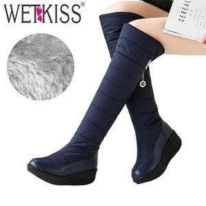 WETKISS Winter Snow Boots Women Platform Boot Down Cotton Metal Decoration Footwear Cleated Knee High Lady Shoes Big Size 35-44