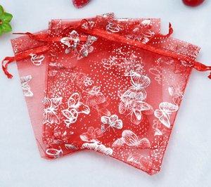 20x30cm Borsa PCS BAGNES Party Red Organza Wedding 70x90 100 regalo mm organza farfalla gioielli regalo gioielli borse da sposa