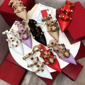 Yüksek kaliteli moda bahar ve yaz yeni Baotou düşük topuk inek derisi sivri bayan yarım terlik dekorasyon bayan sandalet boyutu 35-40