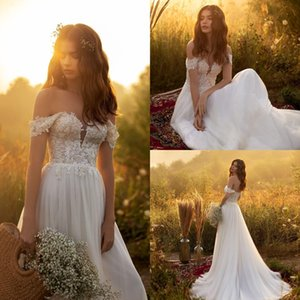 2021 Bohemian A Line Wedding Dresses Lace Top Off Shoulder Long Bridal Gowns Plus Size vestido de novia