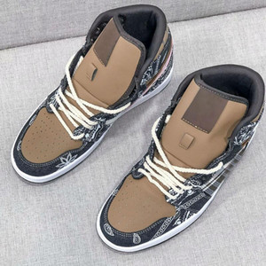 Nuevo 1 High Travis Scott 1S TS Denim Baloncesto Zapatos de baloncesto para mujer Zapato deportivo Cactus Jack Sneakers Mens Trainers US5.5-11